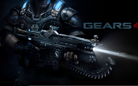 Обои gun, gears of war, soldier, uniform, protection