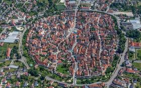 Обои дома, Вемдинг, Бавария, панорама, Германия, крыша
