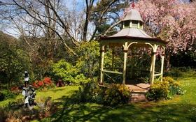 Картинка трава, деревья, цветы, сад, Австралия, скульптура, беседка