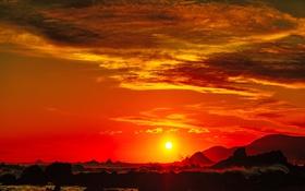 Обои море, солнце, волны, горы, зават, облака