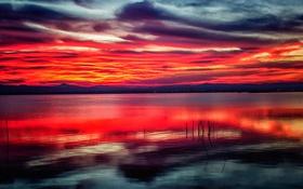 Обои тучи, озеро, отражение, горы, зарево, небо
