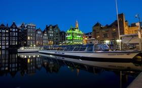 Обои Amsterdam, дома, огни, катера, Нидерланды, ночь, причал