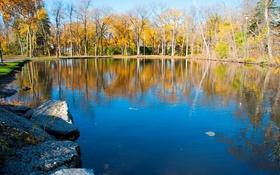 Обои осень, парк, деревья, скамья, пруд, камни