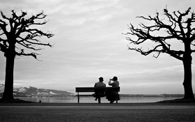 Обои woman, man, couple, bench, sitting