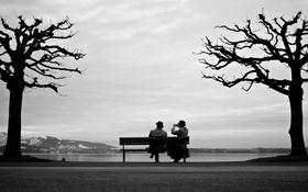 Картинка woman, man, couple, bench, sitting