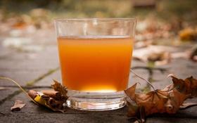 Обои корица, сок, листья, осень