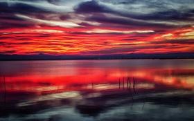 Картинка озеро, берег озера, отражение, горы, зеркало, облака, закат