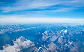 Картинка небо, облака, снег, горы, озеро, вершины, гряда
