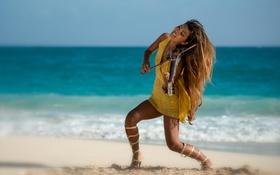 Картинка пляж, девушка, океан, скрипка