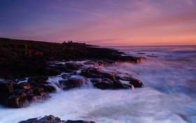 Обои ocean, cloud, sunrise, dunstanburgh