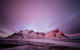 Обои Vestrahorn, небо, Stockksness, Исландия, горы, снег
