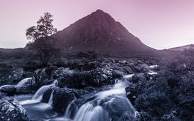 Обои вода, водопад, Гора