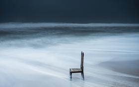 Обои море, небо, стул
