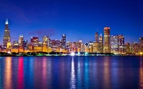 Обои USA, ночь, огни, Chicago, illinois, мегаполис, небоскребы