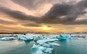 Картинка закат, лёд, река