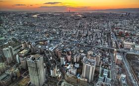 Обои закат, небоскребы, Япония, архитектура, Осака