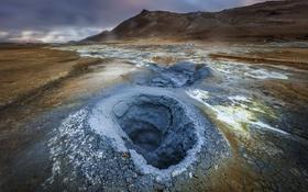 Обои Iceland, geothermal area, Hverir