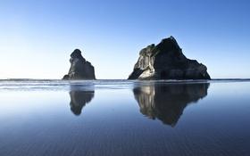 Картинка волны, зеркало, отражение, небо, синий, пляж, камни