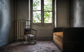 Обои кровать, стул, окно