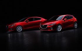 Обои Mazda 3, Sedan, мазда, черный фон, седан, красная