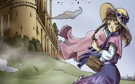 Обои замок, ветер, девочка, корзинка
