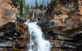 Обои камни, скалы, деревья, водопад