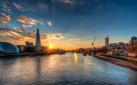 Картинка закат, река, Англия, Лондон, вечер