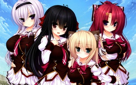 Обои облака, девушки, небо, форма, yakimochi stream, аниме, школьницы