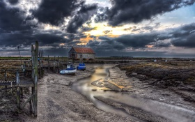 Обои landscape, boat, coast, barn, clouds, boats, Thornham in Norfolk