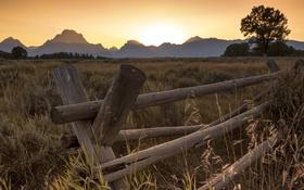 Обои закат, горы, природа, Grand Teton National Park