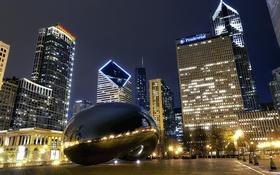 Обои ночь, огни, парк, небоскребы, Чикаго, USA, Chicago
