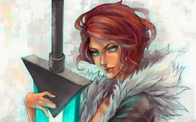 Обои девушка, меч, арт, Red, Transistor, MonoriRogue