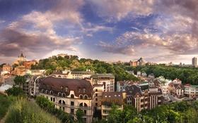 Обои облака, небо, Украина, Киев, вид на город, Воздвиженка, деревья