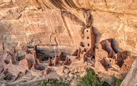 Обои горы, город, скалы, Колорадо, США, руины, Mesa Verde National Park
