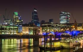 Обои ночь, мост, огни, река, Англия, Лондон, дома