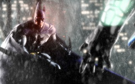 Обои дождь, рука, герой, Batman, Batman Arkham City, Warner Bros. Interactive Entertainment, Rocksteady Studios