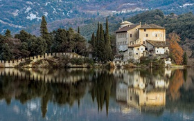 Обои Italy, reflection, Castel Toblino, Lake Toblino, Trentino