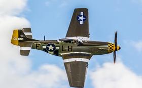 Обои небо, облака, полет, самолет, Mustang, истребитель, американский