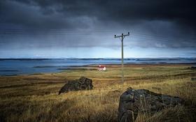 Обои озеро, камни, буря, церковь, линии электропередачи, серые облака