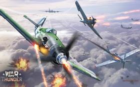 Обои небо, облака, пламя, война, Mustang, истребитель, Boeing