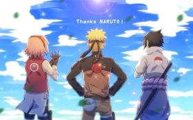 Обои art, саске, сакура, team 7, naruto, наруто
