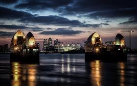 Картинка свет, ночь, огни, река, Англия, подсветка, город Лондон