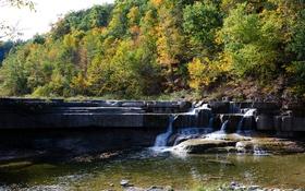 Картинка осень, лес, деревья, скала, река, водопад, слой