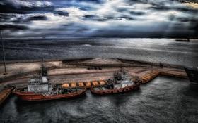 Обои ночь, корабли, порт