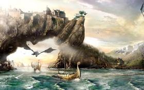 Обои дом, река, драконы, skyrim