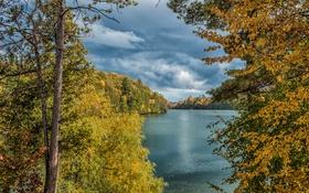 Картинка тучи, деревья, листья, озеро, осень, облака, небо