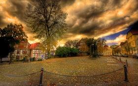 Обои дома, деревья, Германия, Фритцлар, небо, тучи