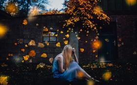 Картинка листья, осень, девушка