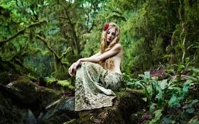 Картинка лес, девушка, волосы, камень, макияж, fairy forest