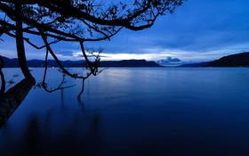 Обои небо, облака, горы, озеро, дерево, Индонезия, Суматра